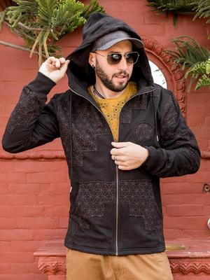 Men's sweatshirt Mayur zip closure and hood - patchwork black & brown