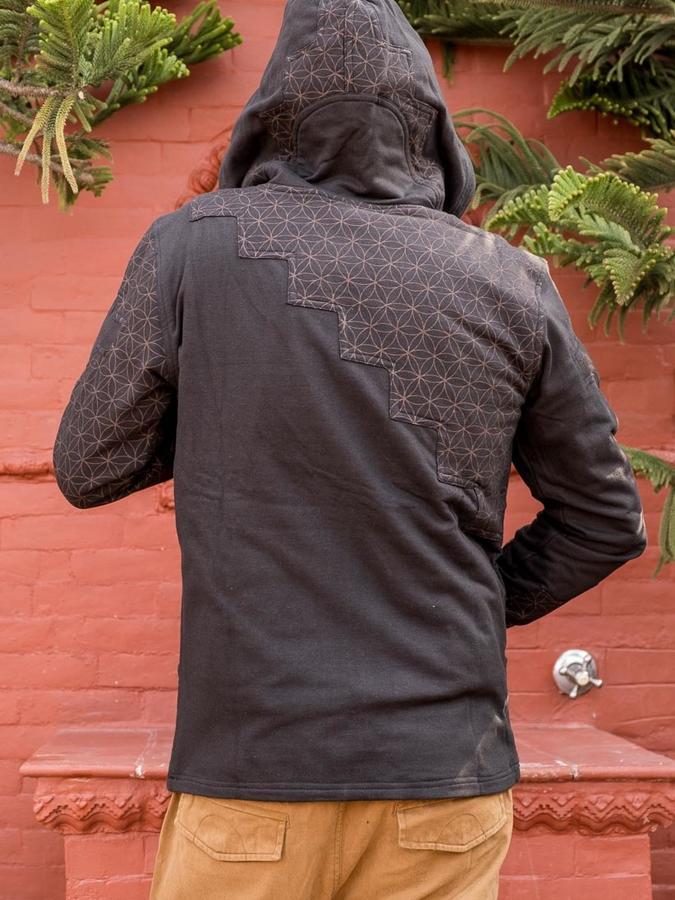 Felpa uomo Mayur chiusura zip e cappuccio - patchwork nero marrone