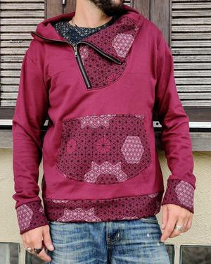 Men's sweatshirt Tushar asymmetrical zip collar and hood - patchwork bordeaux