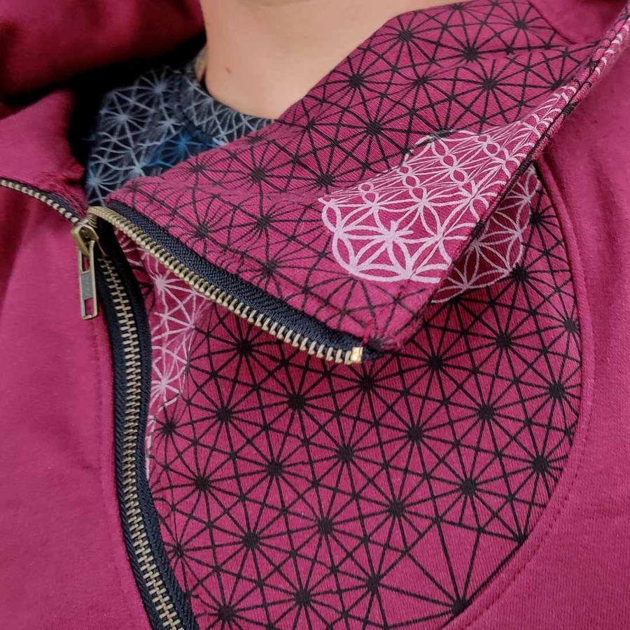 Men's sweatshirt Tushar asymmetrical zip collar and hood - patchwork bourdeaux