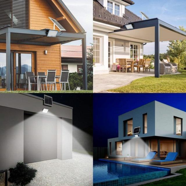 Proiettore solare da esterno a LED  Telecomando Lampada solare a LED da esterno impermeabile IP67