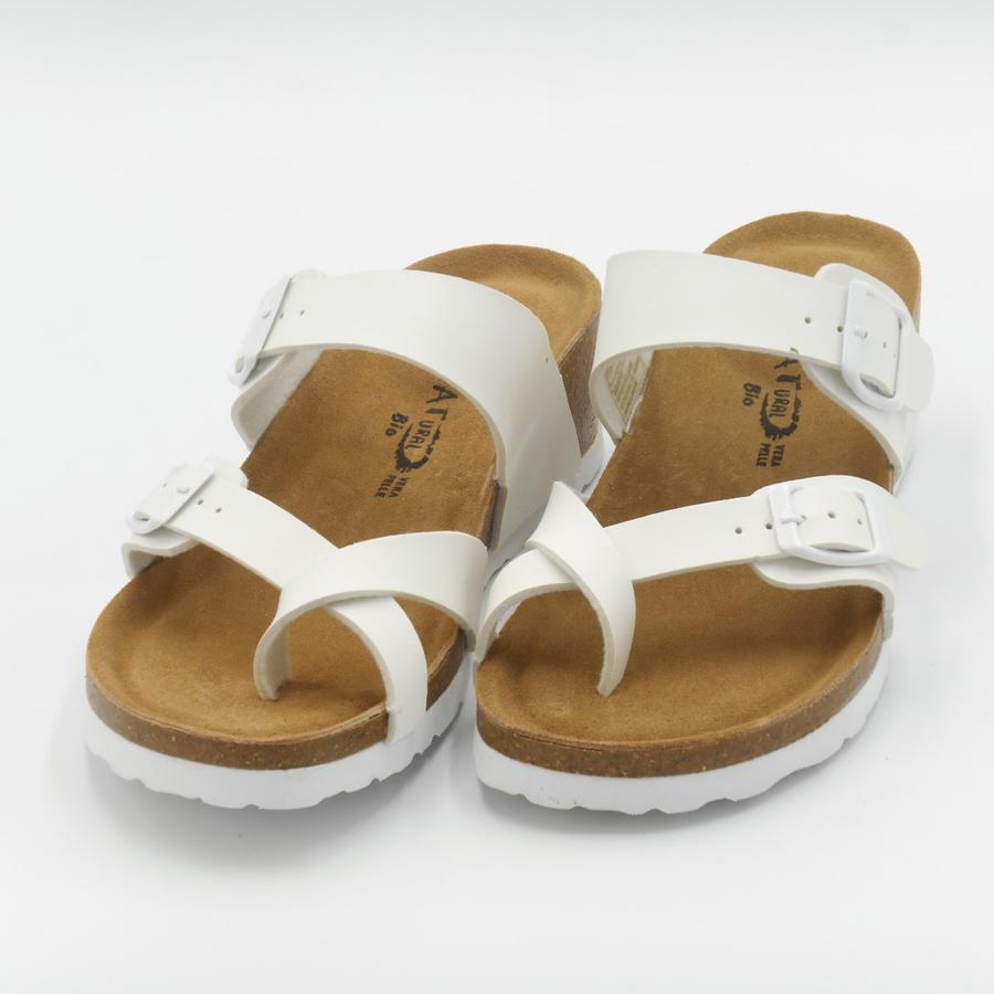 Sandalo a ciabatta con infradito regolabile Bio Natural bianche