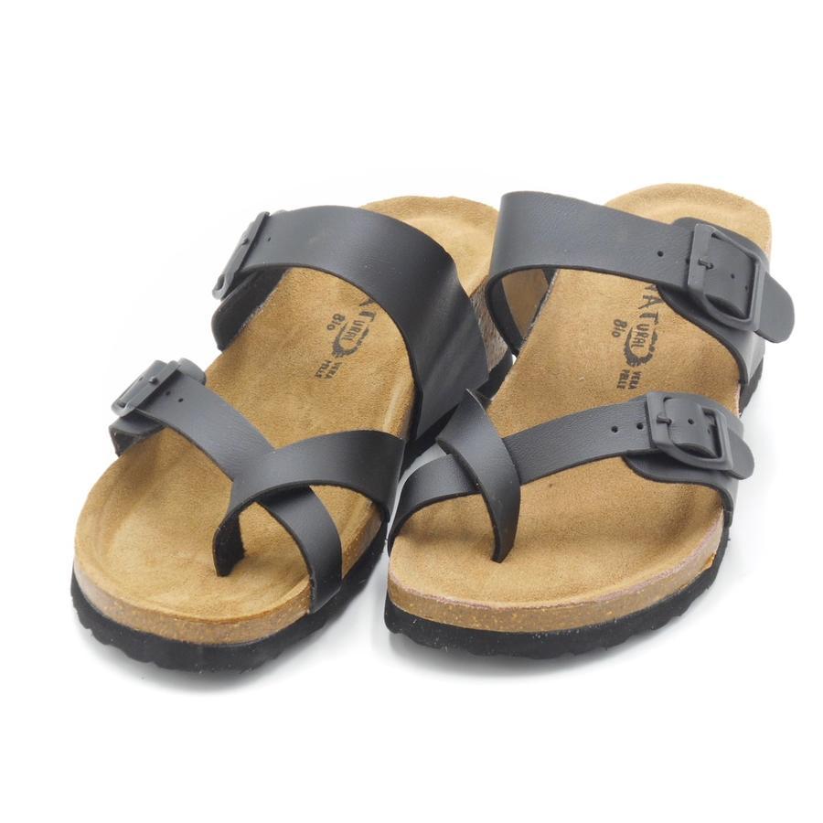 Sandalo a ciabatta con infradito regolabile Bio Natural nere Patty