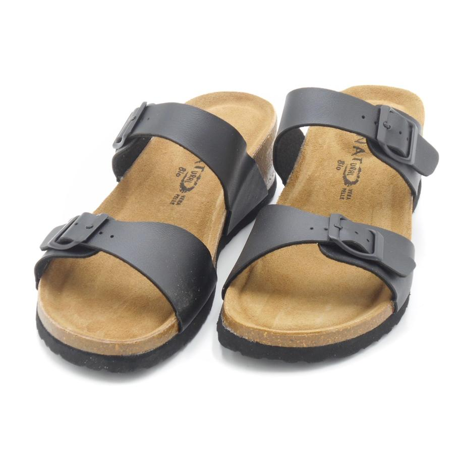 Sandalo a ciabatta con cinturini regolabili Bio Natural nere Peggy
