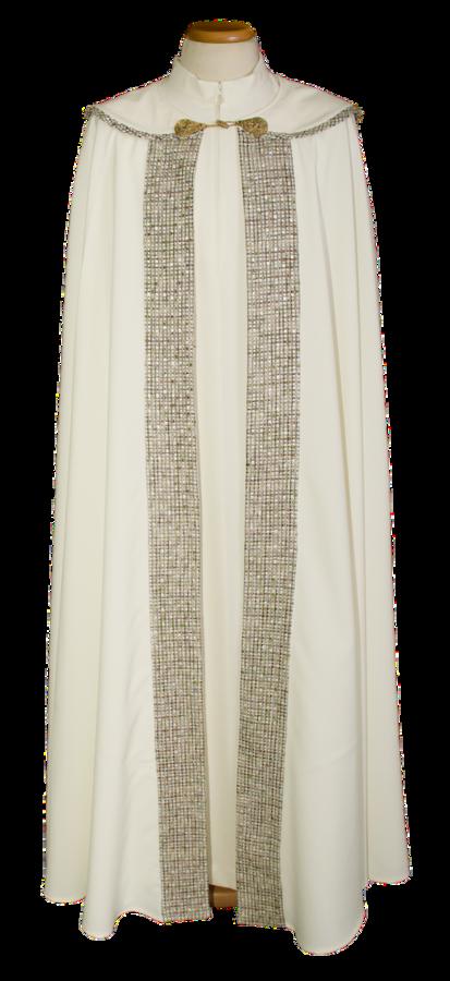 Piviale in poliestere con croce cappino ricamata