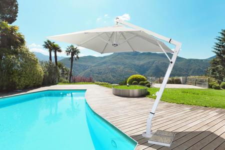 Ombrellone da giardino PROFESSIONALE TRIESTE DELUXE in alluminio bianco misura 3 x 3 palo laterale