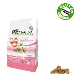 Unica Natura Indoor Gatto Salmone & Riso Disponibile nei formati 350 gr - 1,5 Kg