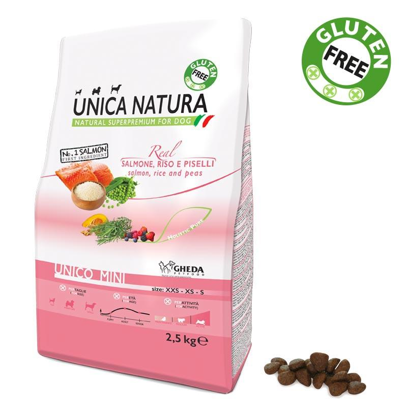 Unica Natura Mini Cane Salmone Disponibile nei formati 800 gr - 2,5 Kg - 7,5 Kg