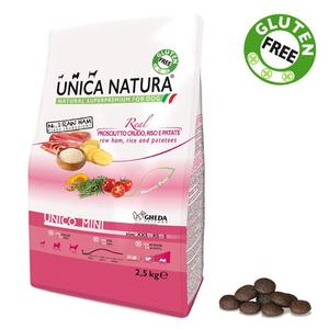 Unica Natura Mini Cane Prosciutto Crudo, Riso & Patate Disponibile nei formati 800 gr - 2,5 Kg