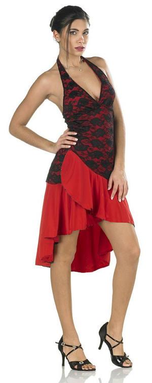 ABITO TANGO E LATIN DANCE CORTO DAVANTI E LUNGO DIETRO IN MAGLINA ROSSA E PIZZO NERO 4-0129