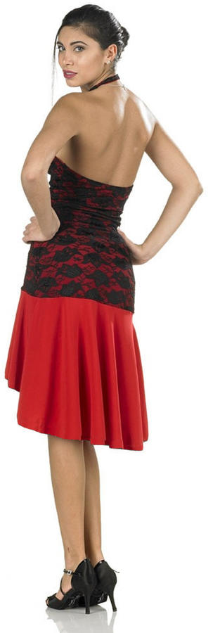 TANGO AND LATIN DANCE SHORT DRESS IN FRONT AND LONG BEHIND IN RED SWEATER AND BLACK LACE 4-0129