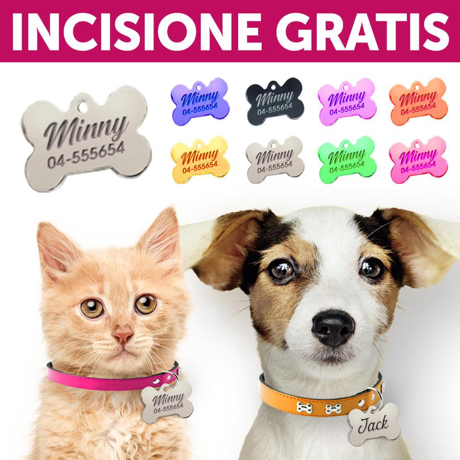 Medagliette Targhette Personalizzate Per Cani Gatti Forma Osso Incisione Gratis