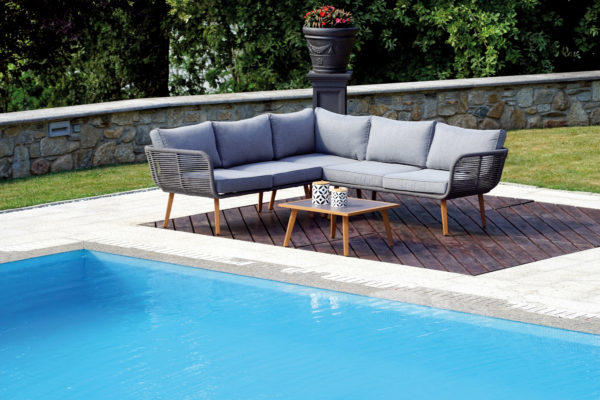 Divanetto angolare alluminio giardino e tavolino CORNER SET OSLO set 133 resin wood e alluminio wooden look con cuscini inclusi