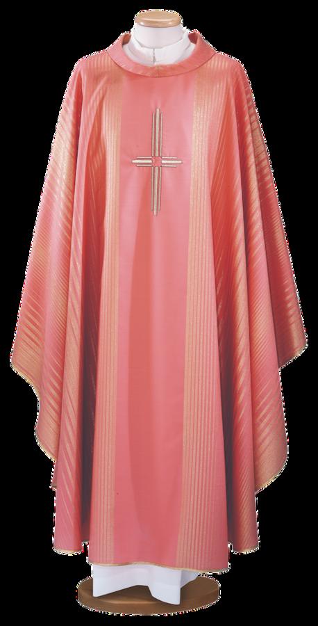 Casula rosa in lana lurex con ricamo