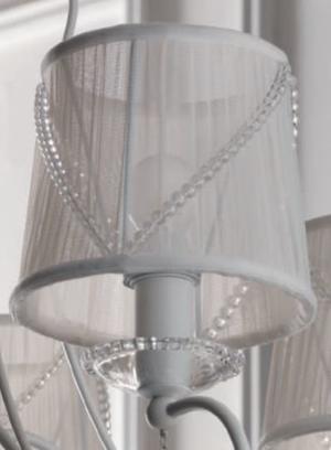 Lampada a Sospensione Paris a Tre Luci di Febo in Tessuto Tulle con Perle di Vetro e Metallo Verniciato - Offerta di Mondo Luce 24