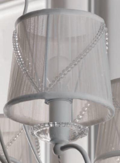 Lampada a Sospensione Paris a Cinque Luci di Febo in Tessuto Tulle con Perle di Vetro e Metallo Verniciato - Offerta di Mondo Luce 24