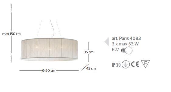 Lampada a Sospensione Paris di Febo in Tessuto Tulle con Perle di Vetro e Metallo Verniciato - Offerta di Mondo Luce 24