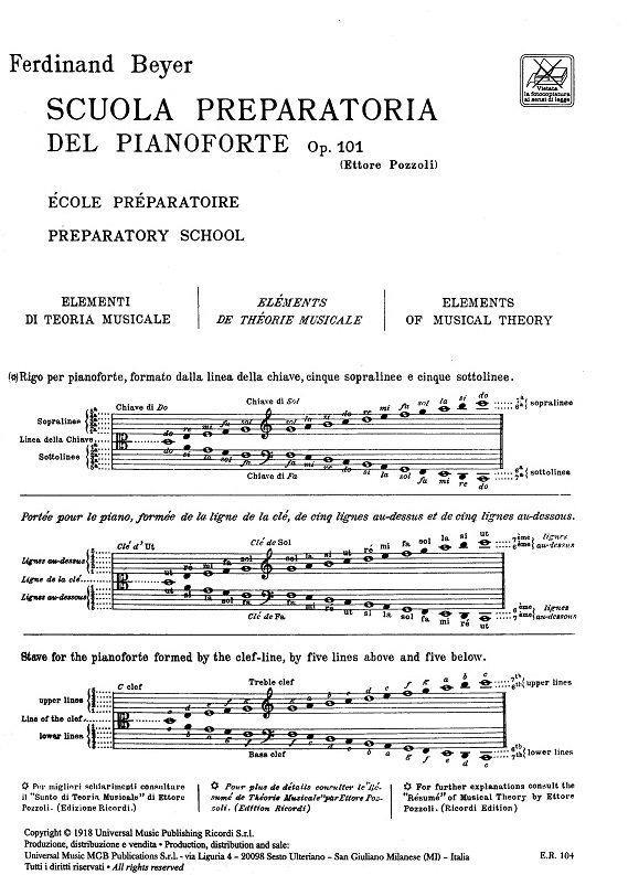 Beyer - Scuola preparatoria del pianoforte Op. 101