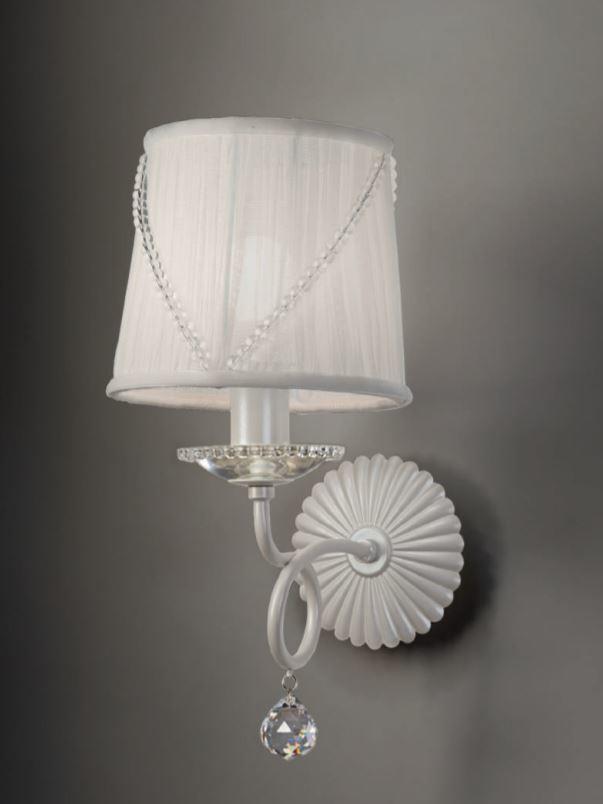 Lampada da Parete/Applique Paris di Febo in Tessuto Tulle con Perle di Vetro e Metallo Verniciato - Offerta di Mondo Luce 24