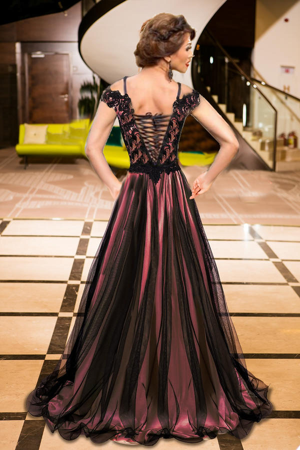0602 LONG EMPIRE DRESS IN TULLE AND MACRAME 'LACE LINED IN PINK SATIN