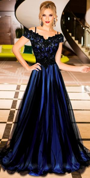 0603 LONG EMPIRE DRESS IN TULLE AND MACRAME 'LACE LINED IN BLUE SATIN