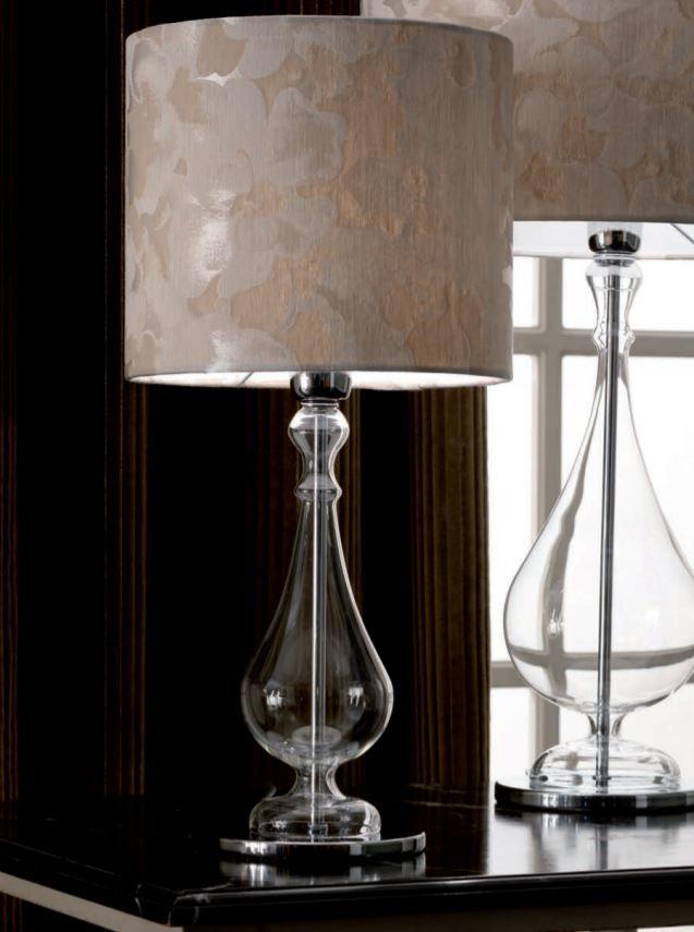 Lampada da Tavolo Madame di Febo in Vetro Borosilicato Trasparente e Paralume Noventa Varie Misure - Offerta di Mondo Luce 24