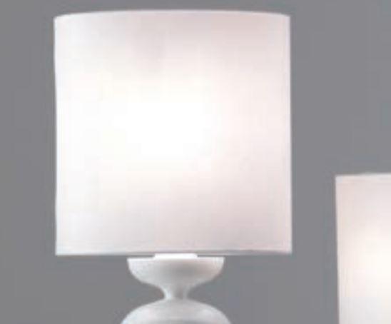 Lume Madame di Febo in Vetro Borosilicato Bianco Lucido e Paralume Cotone Bianco, Varie Misure - Offerta di Mondo Luce 24