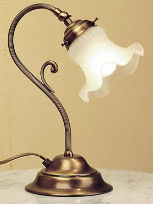 Lampada da Tavolo Tulip di Febo in Metallo e Vetro Satinato Smerlato, Varie Finiture - Offerta di Mondo Luce 24