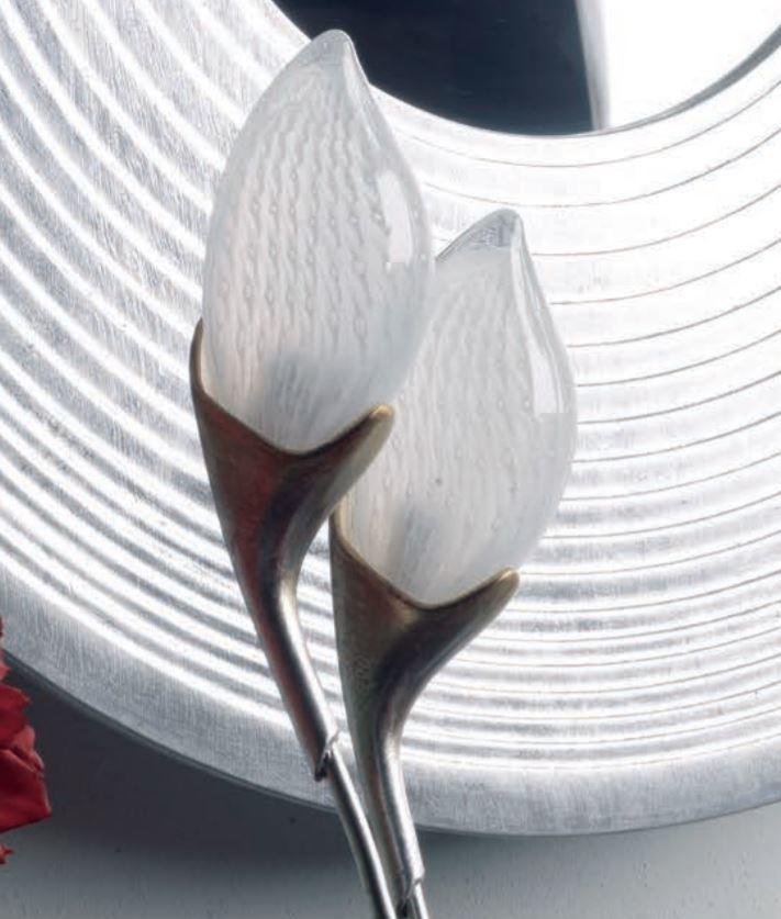 Lampada da Terra Tiglio di Febo a 4 Luci in Vetro Satinato e Struttura in Metallo, finitura Foglia Argento sfumato Oro - Offerta di Mondo Luce 24