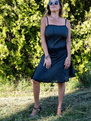 Short woman dress Sarika - dark gray