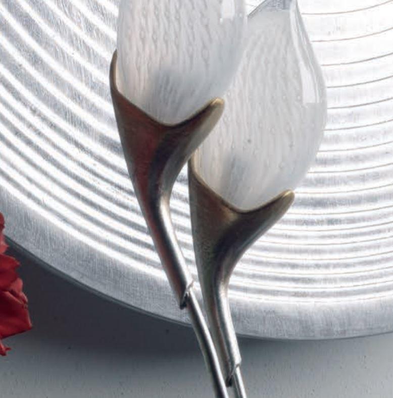 Lampada da Tavolo Tiglio di Febo in Vetro Satinato e Struttura in Metallo, finitura Foglia Argento sfumato Oro - Offerta di Mondo Luce 24