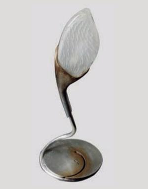 Lume Tiglio di Febo in Vetro Satinato e Struttura in Metallo, finitura Foglia Argento sfumato Oro - Offerta di Mondo Luce 24
