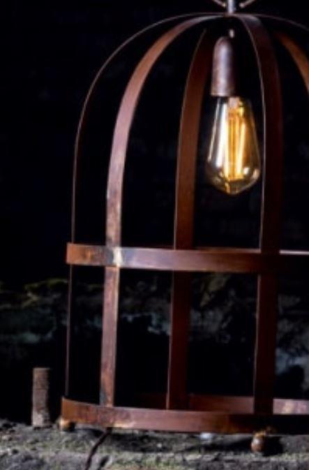 Lampada da Tavolo/Lume Titty di Febo in Ottone Bronzo Aria e Metallo Ruggine Naturale, Varie Misure e Finiture - Offerta di Mondo Luce 24