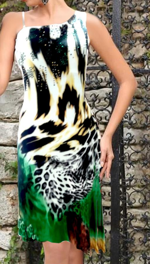 0606 ANIMALIER HOSE IN VISCOSE LINED ONE SHOULDER WITH STRASS