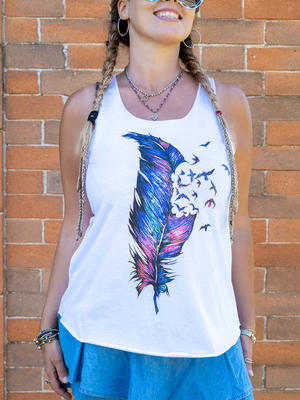 Woman tank top Ramita white - feather
