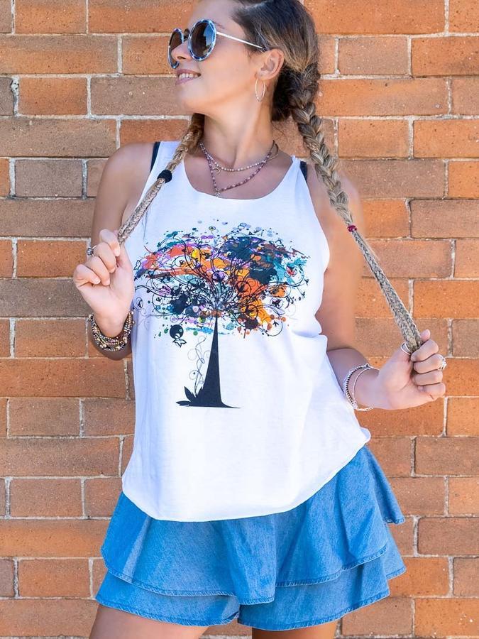Canottiera donna Ramita bianca - albero colorato