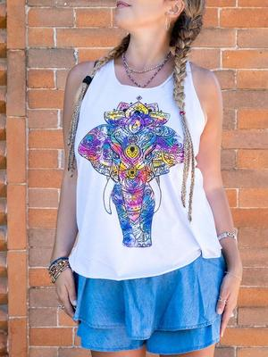 Camiseta sin mangas mujer Ramita blanca – elefante colorido
