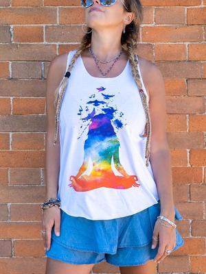 Camiseta sin mangas mujer Ramita blanca – yoga