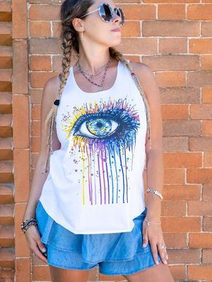 Camiseta sin mangas mujer Ramita blanca – ojo colorido