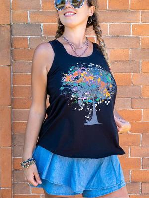 Canottiera donna Ramita nera - albero colorato