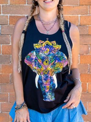 Canottiera donna Ramita nera - elefante colorato