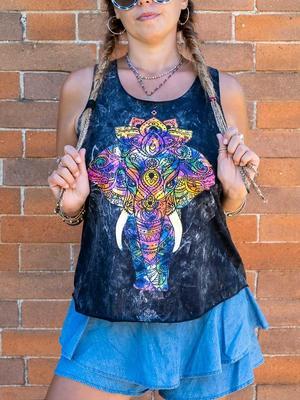 Camiseta sin mangas mujer Ramita negro lavado – elefante colorido