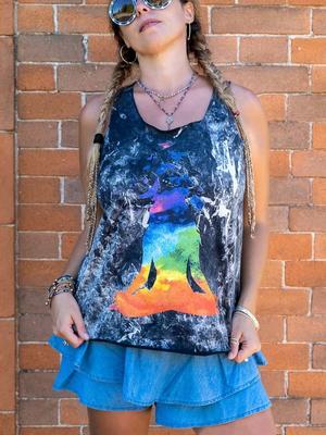 Camiseta sin mangas mujer Ramita negro lavado – yoga