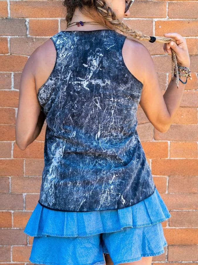 Woman tank top Ramita black stone washed - yoga