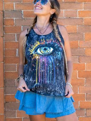 Woman tank top Ramita black stone washed - colorful eye