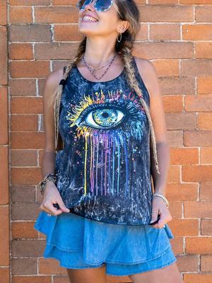 Camiseta sin mangas mujer Ramita negro lavado – ojo colorido