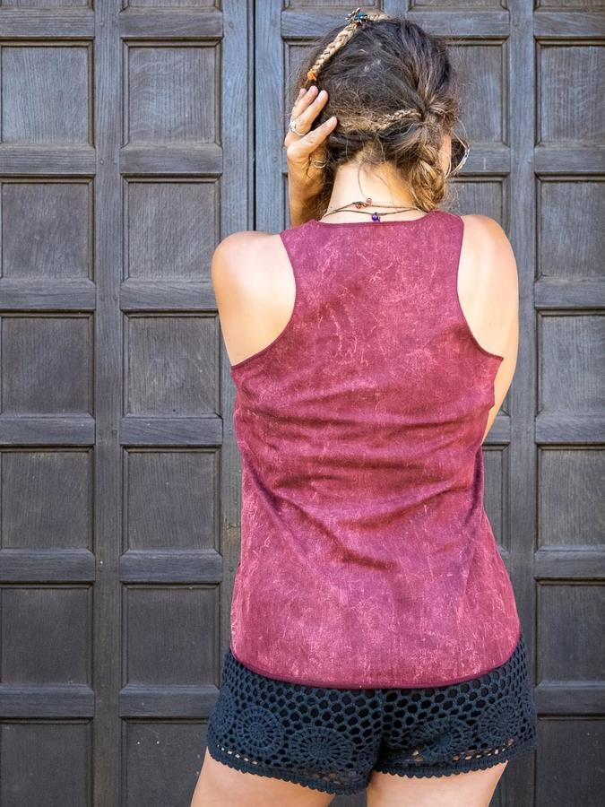 Woman tank top Ramita bordeaux stone washed - colorful tree
