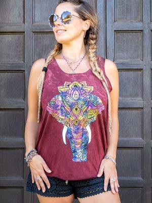 Canottiera donna Ramita bourdeaux lavato - elefante colorato