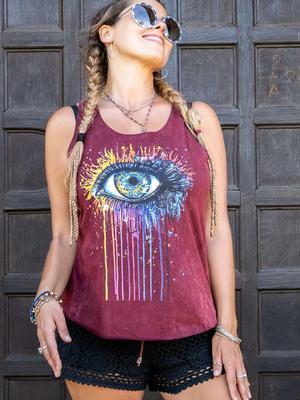 Camiseta sin mangas mujer Ramita burdeos lavado – ojo colorido