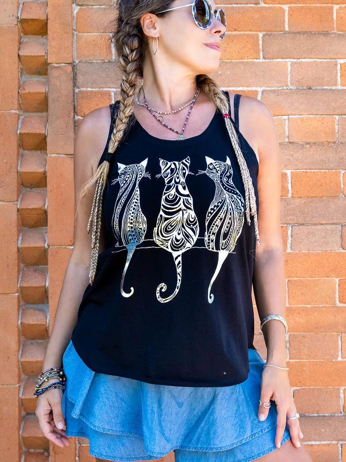 Canottiera donna Ramita nera con stampa argento - gatti